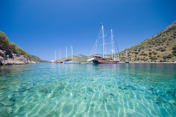 Boats anchored at a bay in the Turkish Mediterranean