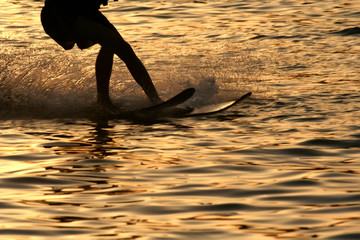 water skiing in sunset