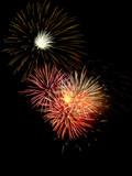 Fireworks, wispy burst above cluster of pink orange bursts poster