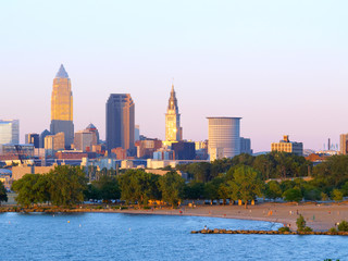 Cleveland, Ohio, lit by the setting sun, with beach