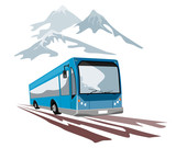 Blue coach travelling in the mountains poster