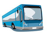 Blue Coach bus poster