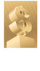 Gold monument of American dollar, vector