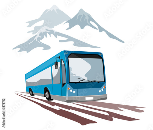 Blue coach travelling in the mountains
