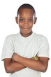 adorable African boy a over white background
