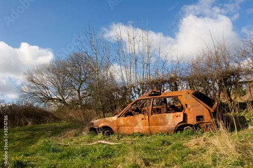 Abandoned,burnt out car