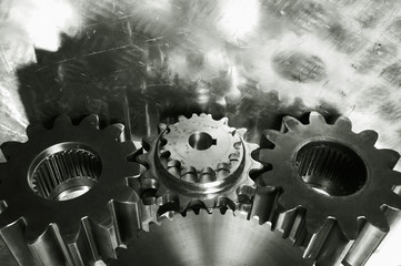 gear machinery in old bronze toning