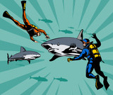 Scuba diver confronted with sharks poster