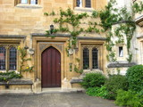 Oxford University, Magdalen College, old wooden door poster