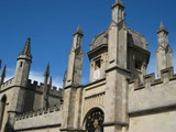 Oxford University, college gateway with spires poster