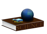 Science book, earth, silicon chips poster