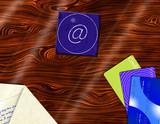 Desktop with credit cards envelope and at symbol coaster poster