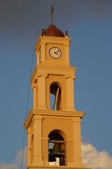 Clock tower in old Jaffa city - church in Israel