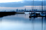 Melbourne, Australia, at dusk, viewed from Brighton. poster
