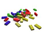 3D illustration of lego blocks poster