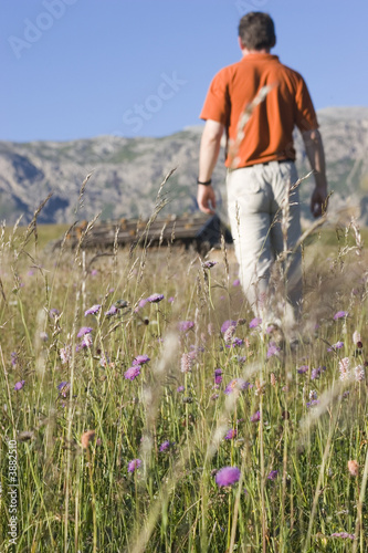 Hiking person - Seiser Alm - Dolomites