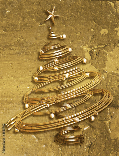 Abstract Christmas tree on grunge textured background.