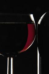 Rotweinflasche, Weinglas