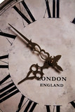 An old antique vintage grandfather clock close-up poster