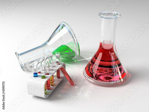 the laboratory tust tubes &  flasks(3d Image)