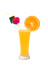 Orange slice and juice isolated on the white