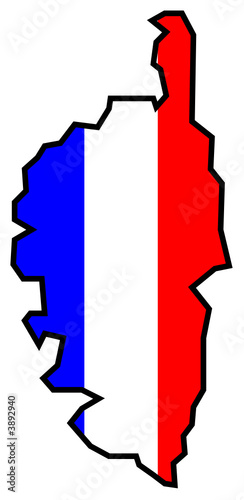 une carte de la Corse avec le drapeau français