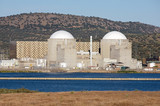 Nuclear power station with two atomic reactors poster
