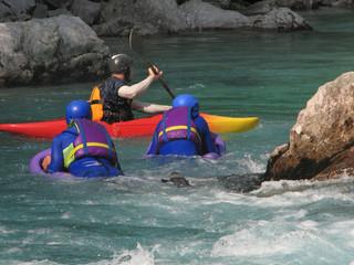 Hydrospeed on a river Soca, Slovenia