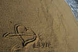 love message, an heart draw in the sand
