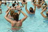 People are doing aerobic in pool poster