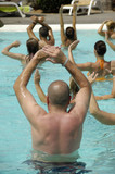 People doing water arobic in pool poster