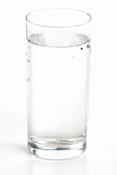 glass of mineral water, studio on white poster