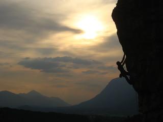 Kletterer im Sonnenuntergang