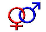 blue and red symbols of a man and a woman