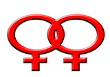 red symbol of lesbian women on the white background