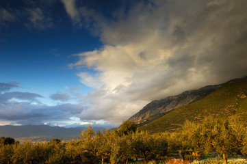 Greek landscape photographed as the weather improves