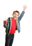 Happy boy holding a drink and waving