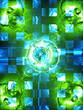 blue and green futuristic illustration