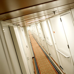 The empty corridor of a hotel