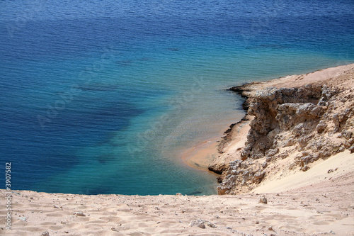 poster of coastline landscape. Panoramic sight on a coast and reef