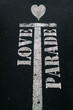 love parade written on the road with a heart