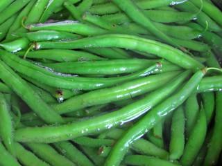 Fresh green boiling beans