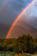 Image shows a vivid rainbow above a countryside field