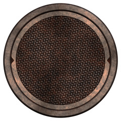 Rusty manhole cover (isolated)