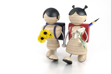 3d model boy and girl and yellow flowers.