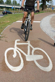 Cyclist on bike route poster
