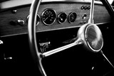 View of the interior of an old vintage car