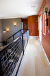 Modern asian inspired hallway and staircase with bamboo floors