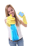 A pretty woman cleaning with spray and sponge poster