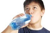 Drinking boy and bottle with mineral water after sport game poster